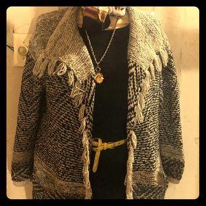 J jill fringe  sweater with pockets